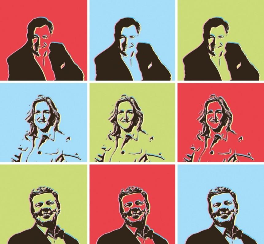 Bild: Süddeutsche Zeitung, Collage mit den Oberbürgermeister-Kandidaten 2014: Josef Schmid (CSU), Sabine Nallinger (Grüne) und Dieter Reiter (SPD), letztere mittlerweile nicht nur Kandidat...